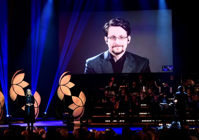 Former Right Livelihood laureate Edward Snowden speaks from a video screen during the 2019 Right Livelihood Award ceremony at Cirkus, Stockholm, Sweden 4 December 2019
