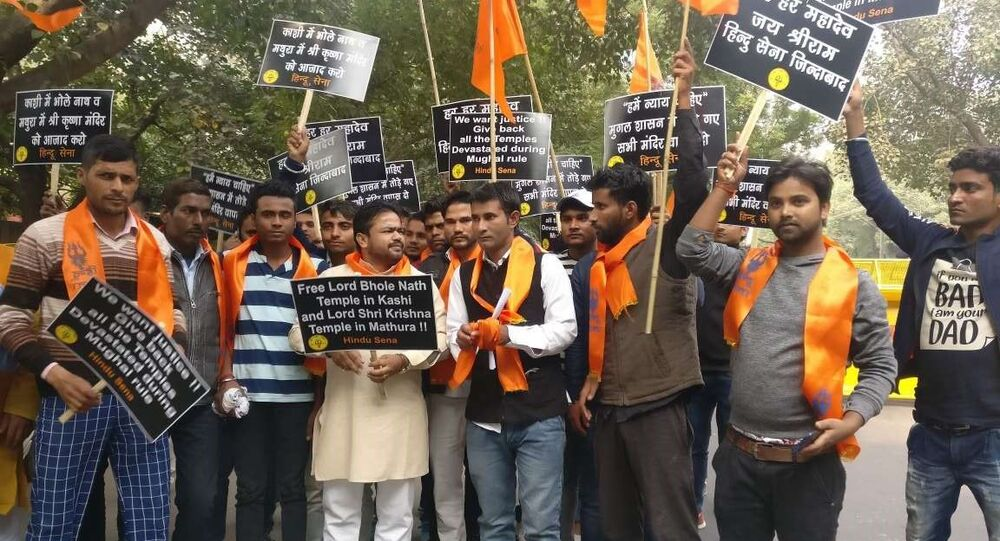 Hindu Sena stages protest in New Delhi over Mathura and Kashi Temples