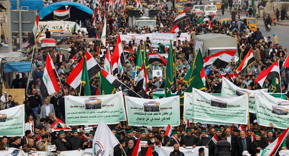 Iraqi demonstrators gather during ongoing anti-government protests in Baghdad, Iraq December 6, 2019