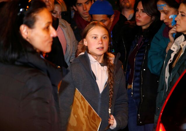 Climate change activist Greta Thunberg is seen before departing a climate change protest march due to security concerns, as COP25 climate summit is held in Madrid, Spain, December 6, 2019.