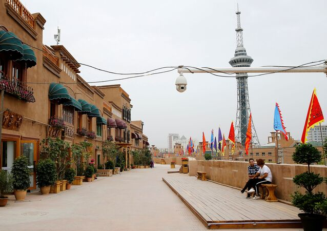 A security camera is placed in a renovated section of the Old City in Kashgar, Xinjiang