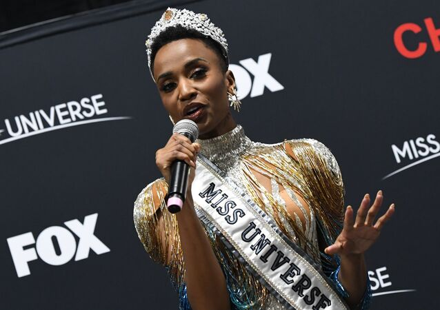 Newly crowned Miss Universe 2019 South Africa's Zozibini Tunzi attends a press conference after the 2019 Miss Universe pageant at the Tyler Perry Studios in Atlanta, Georgia on December 8, 2019