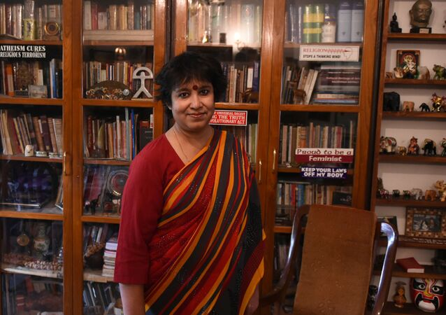 In this photograph taken on November 1, 2016, exiled Bangladeshi author Taslima Nasreen speaks during an interview with AFP at her residence in New Delhi