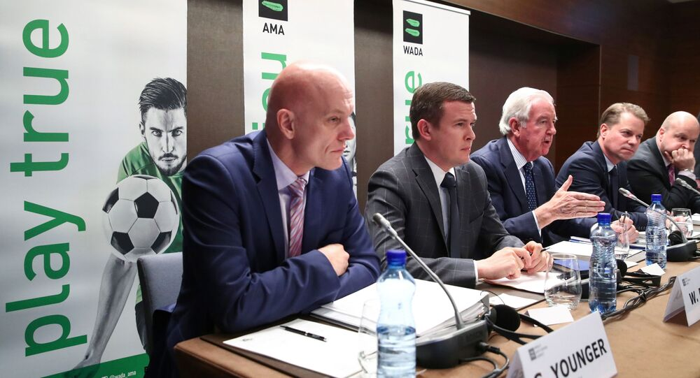 WADA Director, Intelligence and Investigations, Gunter Younger, WADA President-Elect, Witold Banka, WADA President, Sir Craig Reedie, WADA Director General, Olivier Niggli and Chair of the CRC, Jonathan Taylor QC attend a news conference after World Anti-Doping Agency's extraordinary Executive Committee (ExCo) meeting that has banned Russian athletes from all major sporting events in the next four years, in Lausanne, Switzerland, December 9, 2019