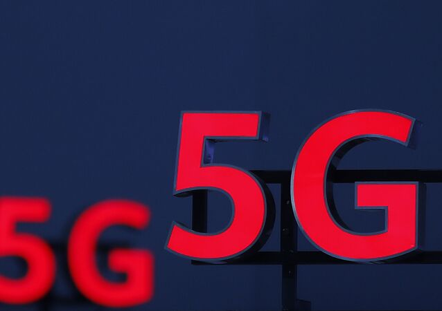 Illuminated 5G logos during the 10th Global mobile broadband forum in Zurich