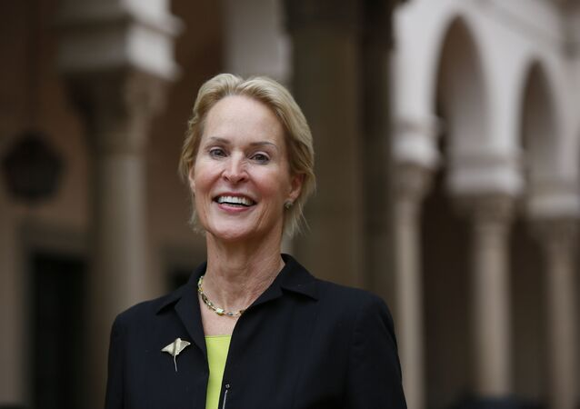 Nobel chemistry winner Frances Arnold poses for a photo at California Institute of Technology in Pasadena, Calif., Wednesday, Oct. 3, 2018