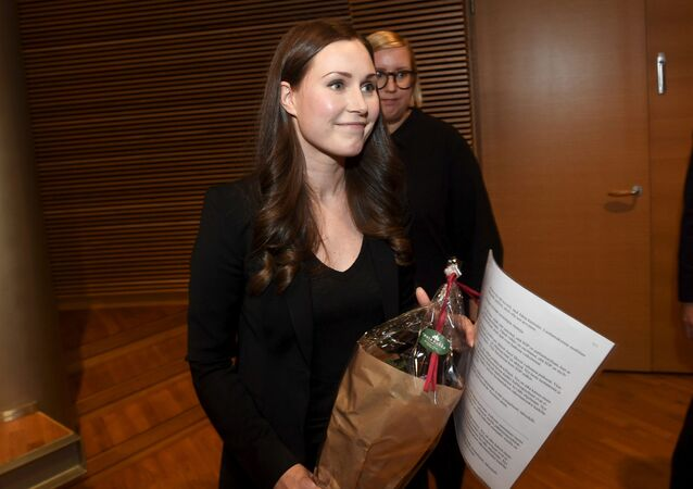 The candidate for the next prime minister of Finland, Sanna Marin, after the SDP's prime minister candidate vote in Helsinki, Finland, December 8, 2019
