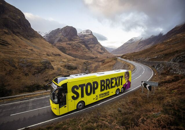 The SNP campaign bus travels along the Pass of Glencoe in the Scottish Highlands