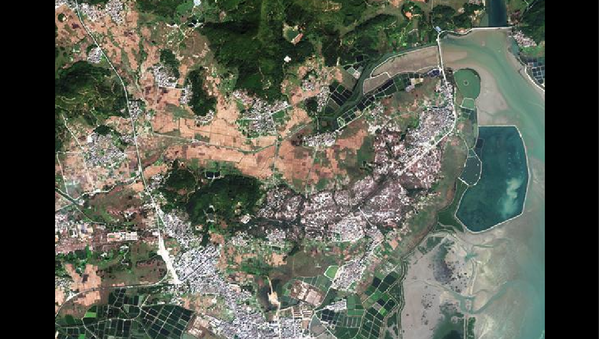 Image shows the multi-spectral orthophoto image of the Hailing port in south China's Guangdong Province with 2.6 m resolution true color based on the data from the Gaofen-7 Earth observation satellite. The China National Space Administration Tuesday released the first batch of three-dimensional images based on the data from the recently launched Gaofen-7 Earth observation satellite. - Sputnik International