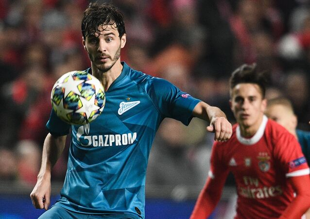 Zenit's Aleksandr Erokhin controls the ball during the Champions League Group G soccer match between Benfica and Zenit St. Petersburg, in Lisbon, Portugal.