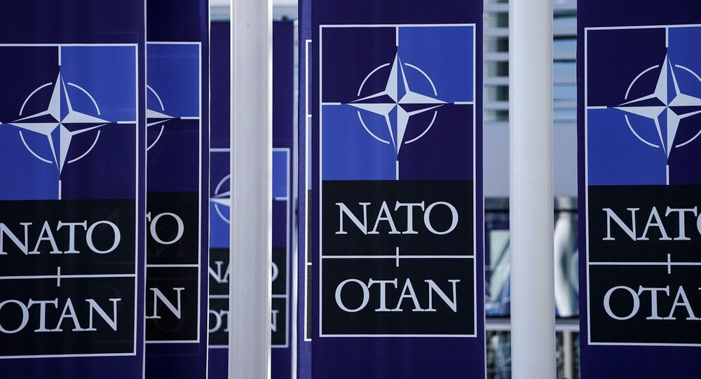 A picture taken on November 20, 2019 shows   NATO flags at the NATO headquarters in Brussels, during a NATO Foreign Affairs ministers' summit. - NATO Foreign Affairs ministers are meeting ahead of a NATO leaders' summit in London on December 3 and 4, 2019