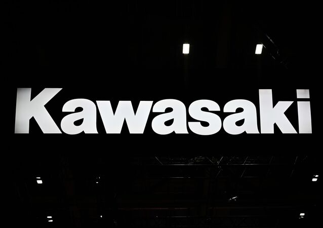 A Kawasaki logo is pictured during the Tokyo Motor Show in Tokyo on October 23, 2019.
