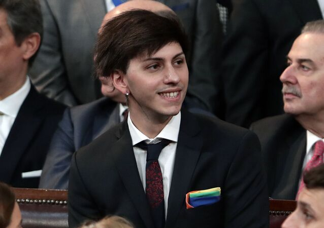 Estanislao Fernandez, Argentina's new president Alberto Fernandez's son, attends the inauguration ceremony of Argentina's new President Alberto Fernandez, in Buenos Aires on December 10, 2019