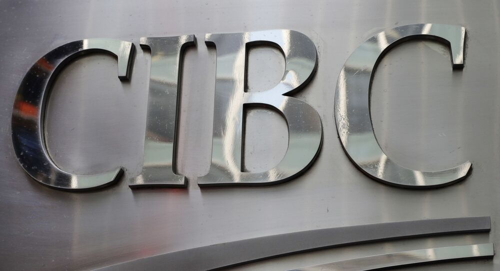 A sign for CIBC, the Canadian Imperial Bank of Commerce, is posted outside the bank's New York office, Thursday, May 4, 2018.