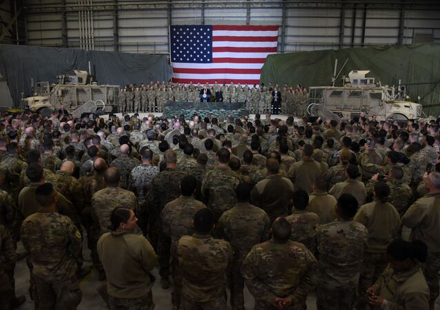 US President Donald Trump speaks to the troops at Bagram Air Field in Afghanistan