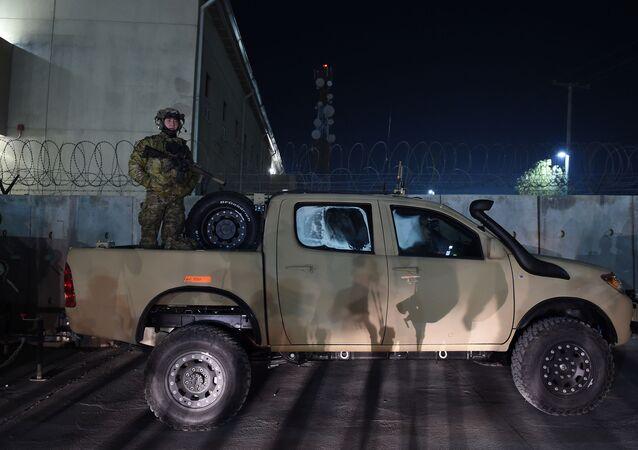 US soldier at Bagram Air Field in Afghanistan