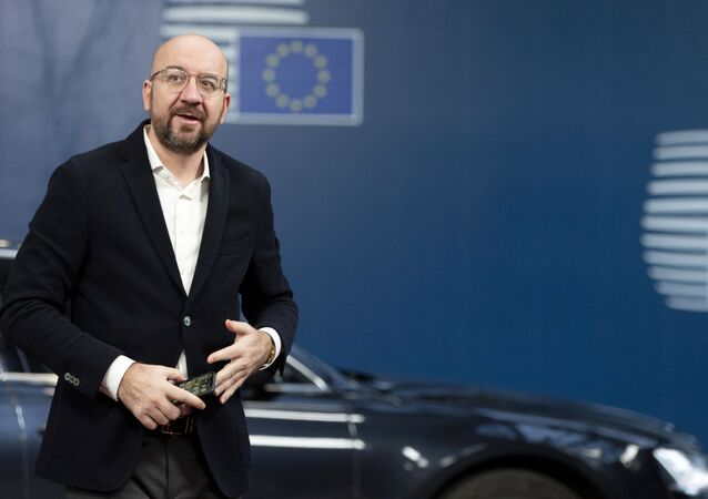 Incoming President of the European Council Charles Michel arrives at the EU Council building in Brussels, Monday, Nov. 25, 2019.