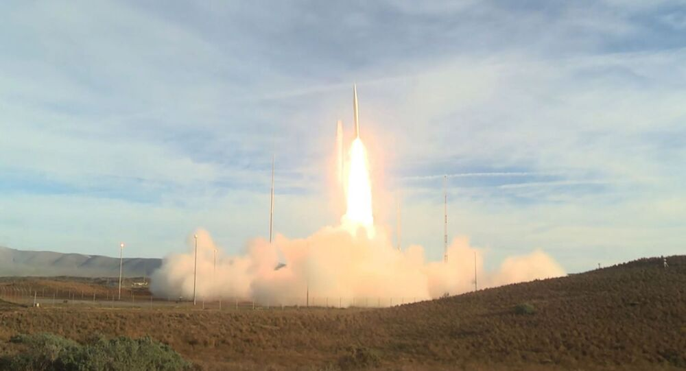 This video grab taken from a DoD (US Department of Defense) handout video released on December 12, 2019, shows a ballistic missile being launched from Vandenberg Air Force Base, California