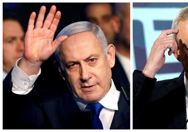 A combination picture shows Israeli Prime Minister Benjamin Netanyahu in Tel Aviv, Israel November 17, 2019, and the leader of Blue and White party, Benny Gantz, in Tel Aviv, Israel November 20, 2019