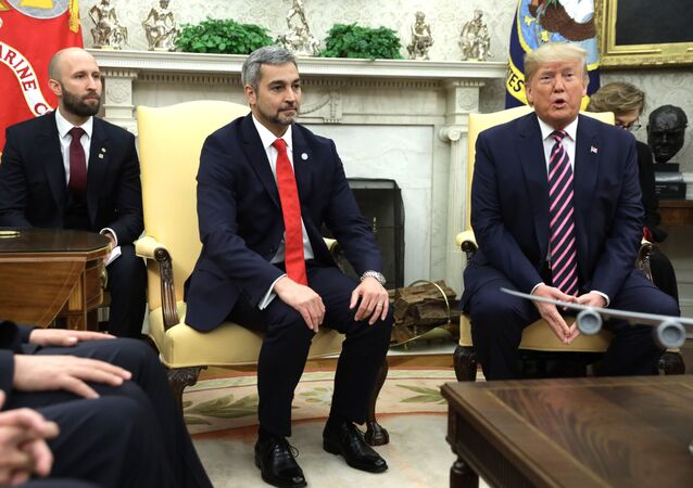 U.S. President Donald Trump and President of Paraguay Mario Abdo Benitez in the Oval Office of the White House
