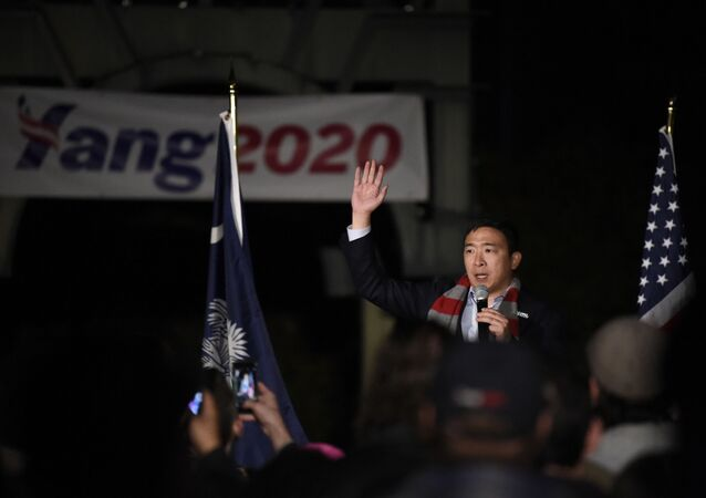 Democratic presidential hopeful Andrew Yang addresses a rally crowd at a campaign event on Friday, Nov. 22, 2019, in Rock Hill, S.C.