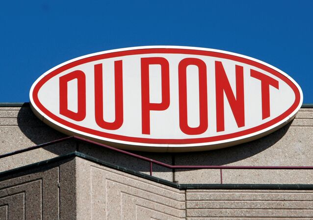 A DuPont logo on the EMEA (Europe, Middle East & Africa) and Du Pont de Nemours International SA building in Grand-Saconnex near Geneva