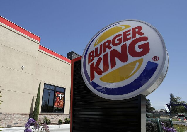 This 25 April 2019, file photo shows a Burger King in Redwood City, California. On 12 November 2019, Burger King introduced a plant-based burger in Europe, but not the Impossible Whopper that's been a hit with US customers. A Dutch company called The Vegetarian Butcher is supplying the new soy-based Rebel Whopper to 2,400 restaurants across Europe.