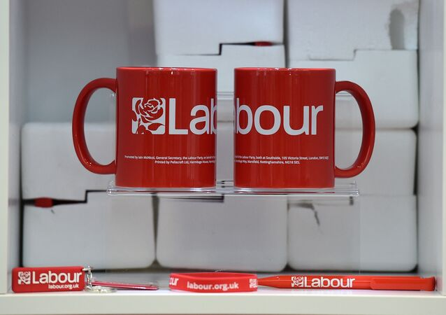 Official merchandise from the opposition Labour party is seen on sale at the Labour Party Conference in Liverpool, north west England on September 23, 2018, the official opening day of the annual Labour Party Conference