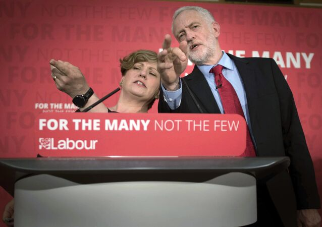 Labour leader Jeremy Corbyn, right and Shadow Foreign Secretary Emily Thornberry answer questions from the media