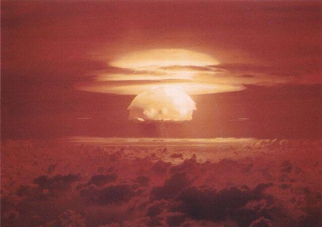 Nuclear weapon test Bravo (yield 15 Mt) on Bikini Atoll