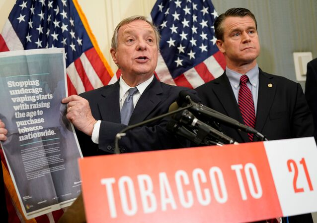 Sen. Dick Durbin (D-IL) speaks at a news conference about the Tobacco to 21 Act