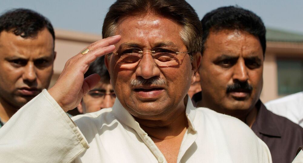 Pakistan's former President and head of the All Pakistan Muslim League (APML) political party Pervez Musharraf salutes as he arrives to unveil his party manifesto for the forthcoming general election at his residence in Islamabad (File)