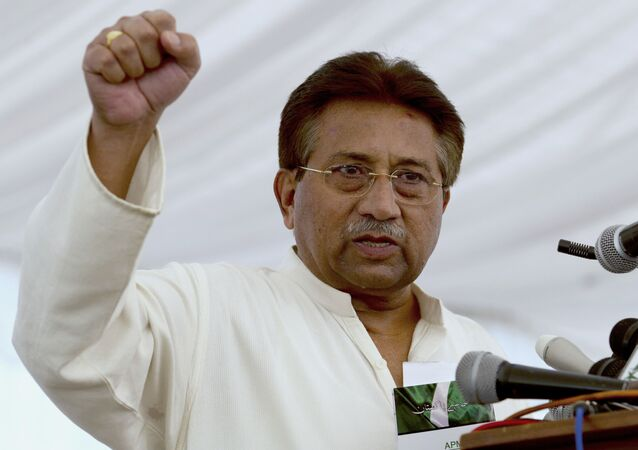 FILE - In this Monday, April 15, 2013 file photo, Pakistan's former President and military ruler Pervez Musharraf addresses his party supporters at his house in Islamabad, Pakistan