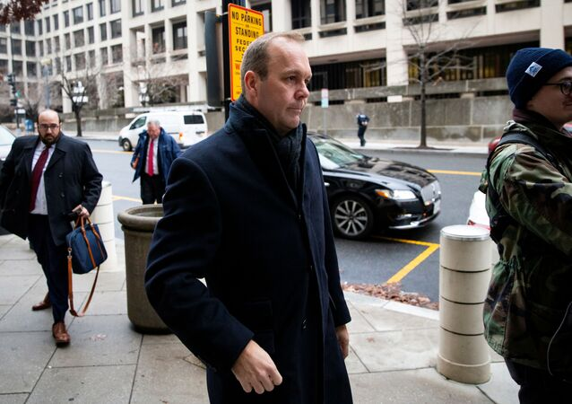 Rick Gates, former campaign aide to U.S. President Donald Trump, arrives for his sentencing at district court in Washington, DC, U.S.