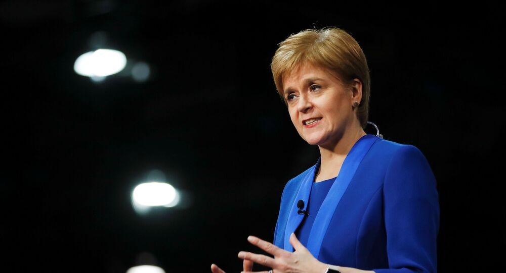 Scottish National Party leader Nicola Sturgeon speaks at a counting centre for Britain's general election in Glasgow, Britain, December 13, 2019.