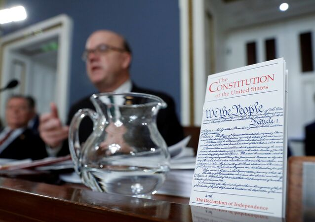 A copy of the U.S. Constitution is displayed as House Rules Committee chairman Rep. A copy of the U.S. Constitution is displayed as House Rules Committee chairman Rep. Jim McGovern (D-MA) speaks (D-MA) speaks