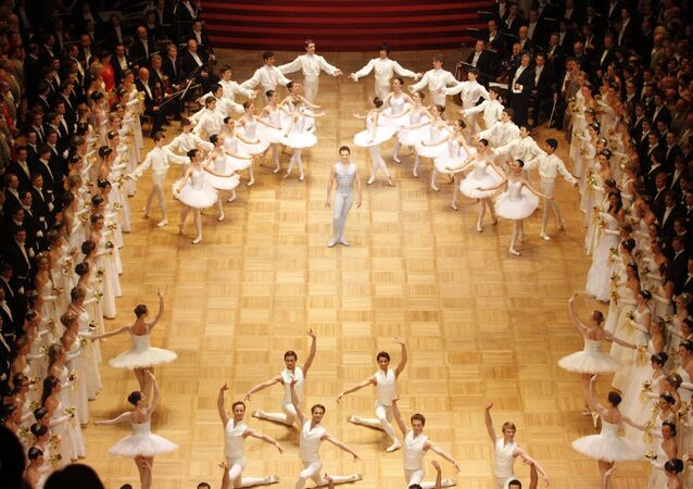 Dancers of the opera ballet perform during the opening of the traditional Opera Ball at the state opera in Vienna