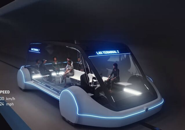 A vehicle from The Boring Company concept video for high-speed underground public transportation system called Loop