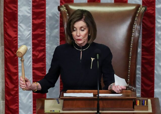 U.S. Speaker of the House Nancy Pelosi (D-CA) bangs the gavel to adjourn the House of Representatives after representatives voted in favor of two counts of impeachment against U.S. President Donald Trump in the House Chamber of the U.S. Capitol in Washington, U.S., December 18, 2019.