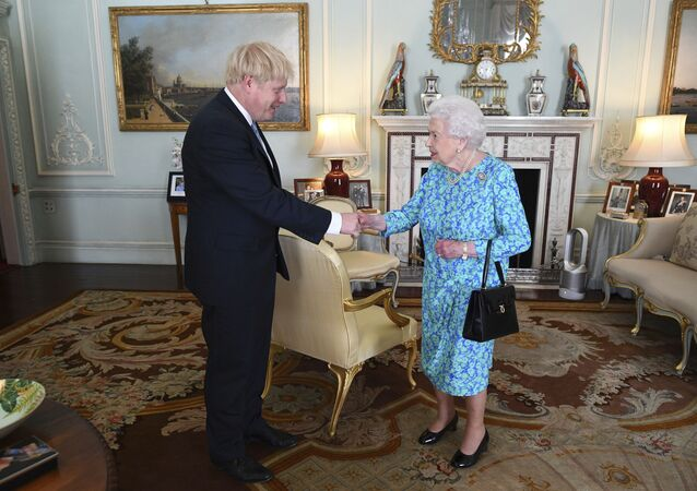Britain's Queen Elizabeth II welcomes newly elected leader of the Conservative party Boris Johnson during an audience at Buckingham Palace, London, 24 July 2019, where she invited him to become Prime Minister and form a new government.