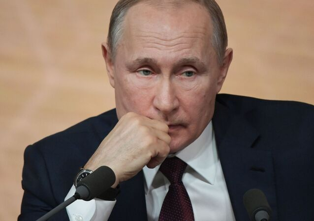 Russian President Vladimir Putin's annual news conference, in Moscow, Russia