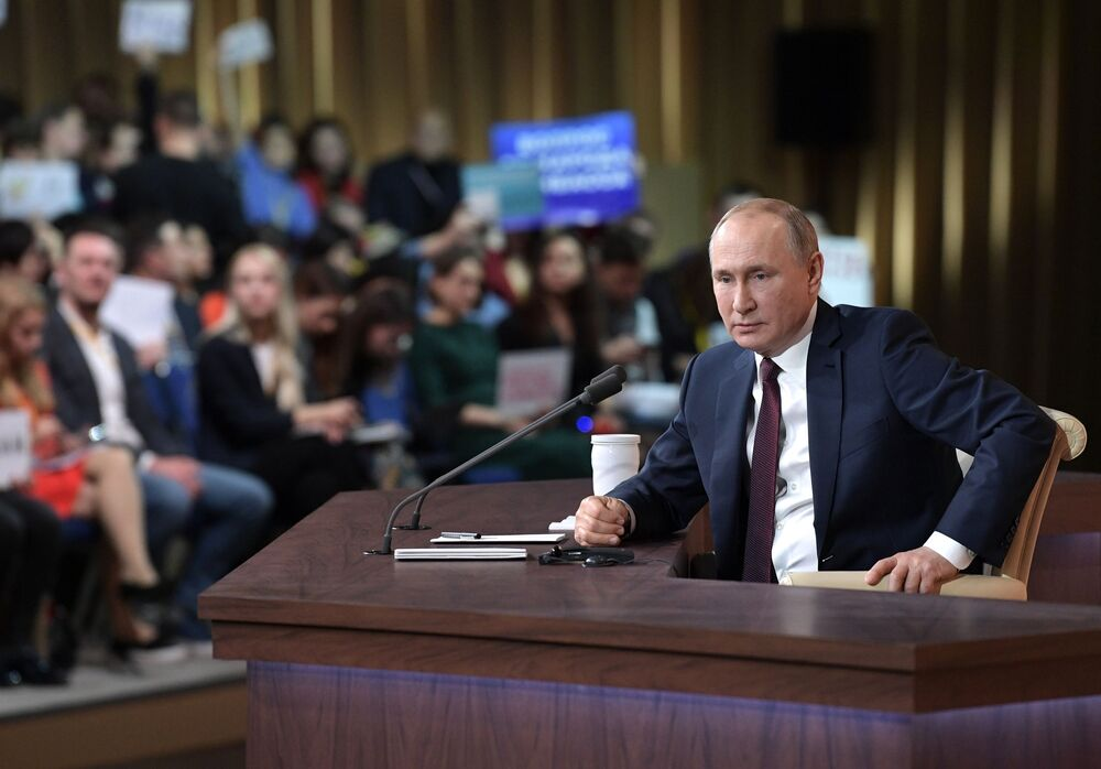 Russian President Vladimir Putin at a large annual press conference at the World Trade Center on Krasnaya Presnya on 19 December 2019.