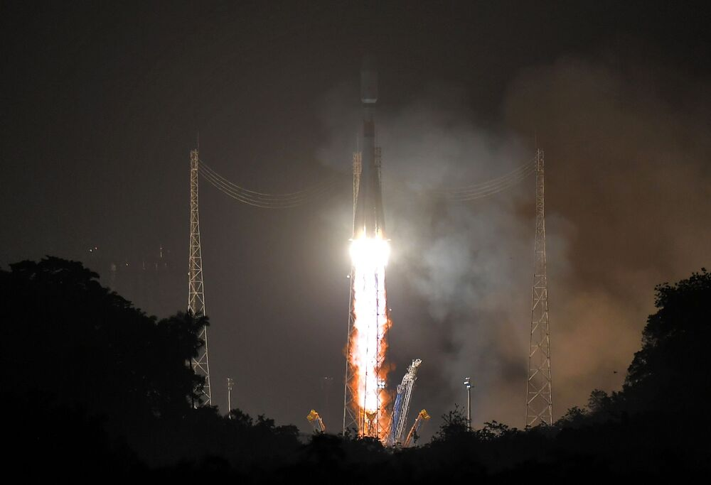 The Soyuz-ST launch vehicle blasts off from the Kourou Cosmodrome in French Guiana. The booster rocket lifted the Italian Earth Remote Sensing Radar Satellite CSG-1, the European CHEOPS Space Telescope, the French small science satellite EyeSat, the first French ANGELS nanosatellite and the European OPS-SAT into orbit.