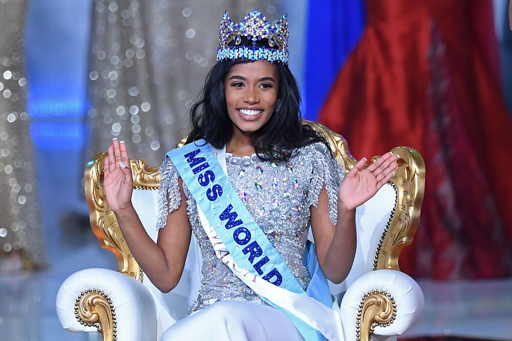 Newly crowned Miss World 2019, Miss Jamaica Toni-Ann Singh, smiles during the the Miss World Final 2019 at the Excel arena in east London on 14 December 2019.