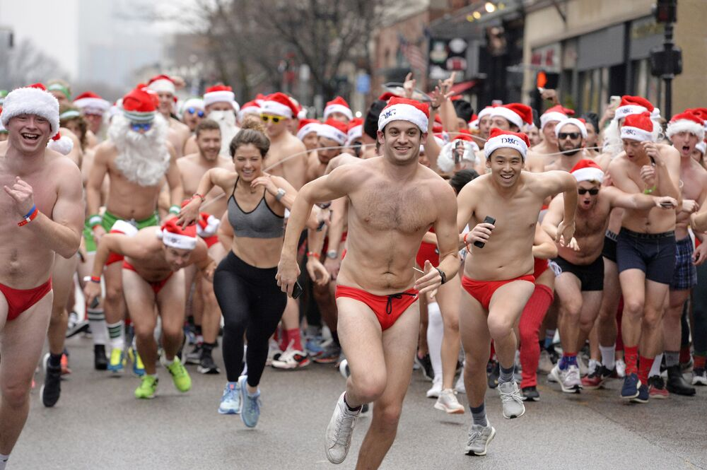 Runners start the race during the 20th Annual Santa Speedo Run in Boston, Massachusetts, on 14 December 2019. Volunteers run in their festive speedoes and underwear to raise money for the Play Ball! Foundation.  The event has raised close to two million dollars since its start, this year they raised over $96,000.