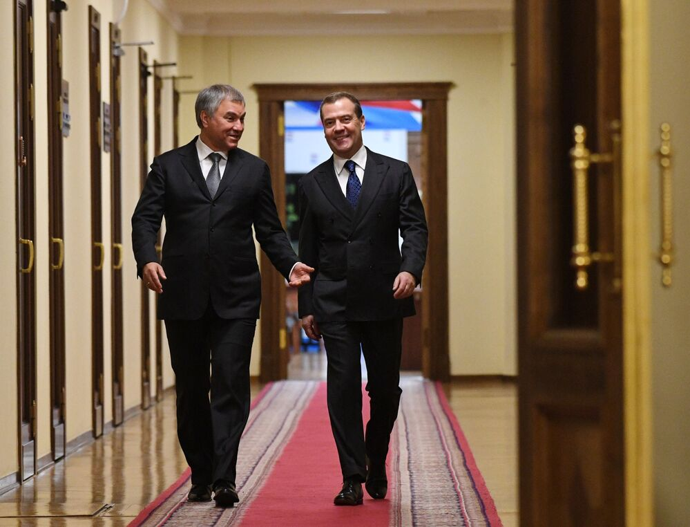 Russian Prime Minister Dmitry Medvedev and Chairman of the Russian State Duma Vyacheslav Volodin (left) in the building of the State Duma on 18 December 2019.