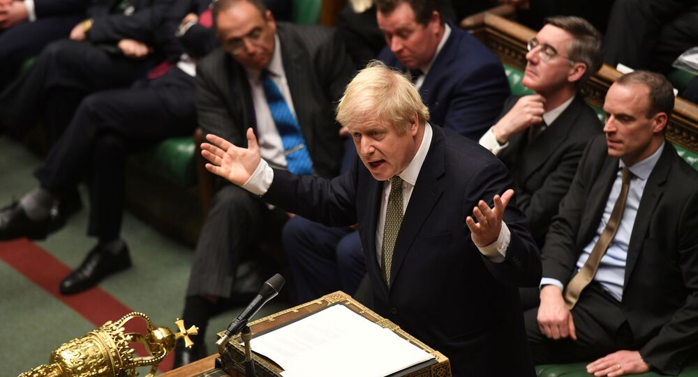 Britain's Prime Minister Boris Johnson speaks during the debate on the Queen's Speech in the House of Commons Chamber, in London, Britain December 19, 2019