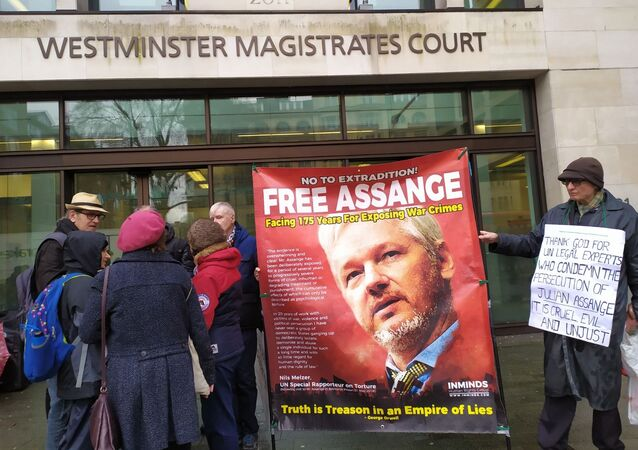 A rally in support of Assange in London