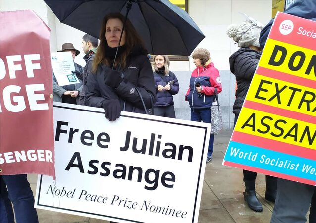 Assange supporters outside Westminster Magistrates' Court