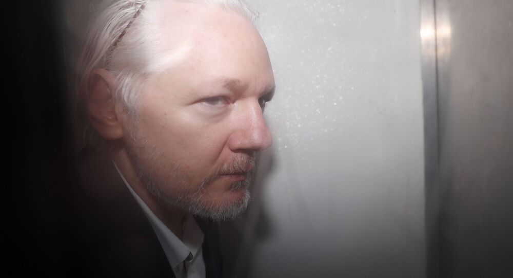 WikiLeaks founder Julian Assange is seen in a prison van traveling to Westminster Magistrates Court in London, Friday, Dec. 20, 2019. Assange is expected to appear in person before Westminster Magistrates in a private hearing related to a Spanish criminal case about alleged surveillance at the Ecuador embassy